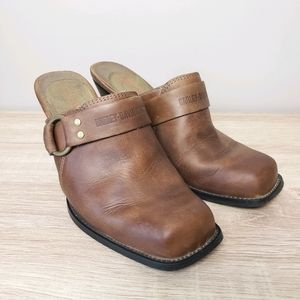 Harley-Davidson Motorcycle Leather Clogs Mules